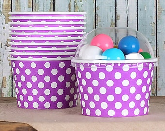 Large Polka Dot Purple Ice Cream Cups with Lids, Ice Cream Bowls, Sundae Cups, Dessert Cups, Popcorn Cups, Favor Candy Cups (8oz - 18 ct)