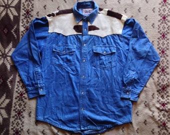 Vintage Jensen Smith Snap Button Cow Hide Yoke Western Shirt Made In USA Size Medium