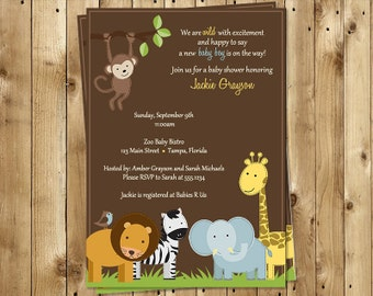 Jungle, Baby Shower, Invitation, Safari, Animal, Boys, Sprinkle, Monkey, Lion, Giraffe, 10 Printed Invites, FREE Shipping, Jungle Jack Brown