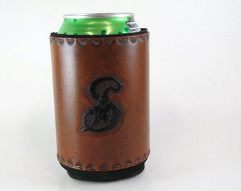 Monogram S Personalized Leather Can Cooler Monogrammed S Leather Can Holder Ready to Ship Hand Tooled Leather Can Chiller Insulated Holder