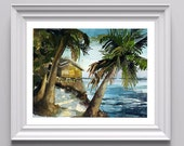Digital Print of Original Watercolor on Paper of Honduran Beach Scene, Cold Press, Fine Art, Many Sizes to Choose From
