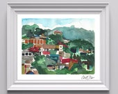 Digital Print of Original Watercolor on Paper of Honduran Cityscape, Green and Red, Cold Press, Fine Art, Multiple Sizes Available