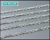 1 meter silver double oval and double cross link chain, unique design chain, bright rhodium silver plated chain B096-BR