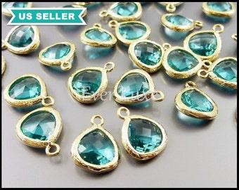 2 small teardrop glass pendants, sea green / blue zircon 10mm drop in gold bezel frame, glass charms 5064G-SG-10