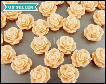 4 colorful creamy peach / blush color flower blossom cabochons, rose flower cabs, resin cabs, flower ring 5082-CP