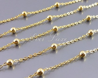 1 meter stationed bead chain, shiny gold plated brass, ball chain, beaded chain, gold station chain, satellite chain B122-BG