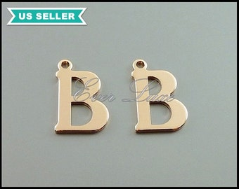 4 high quality rose gold initial B charms, initial charms, charm bracelet, letter pendant, initial pendant 1907-BRG-B