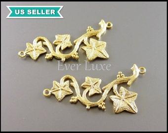 2 grape vine leaf connectors, matte gold plated brass charms, branch pendants, necklace pendant 923-MG