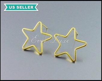 4 hollow star stud earrings in matte gold, high quality delicate star stud earrings, fashion earrings, star earrings 1073-MG-2