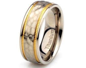 Mens Titanium Wedding Band,Brushed Hammered Titanium Ring,His,Titanium Anniversary Rings,Bands,Custom Titanium Rings, Free Laser Engraving
