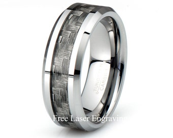 Tungsten Wedding Band Beveled edge Carbon Fiber inlay Polished tungsten ring custom tungsten mens tungsten ring anniversary bands his band
