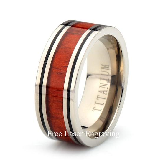 Titanium Wedding Ring Hawaiian Koa Wood Band Mens Women's