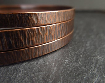 Hammered copper bangles, bark texture, copper bracelets, oxidized copper finish, copper wedding anniversary gift, oval shape bangles, ladies