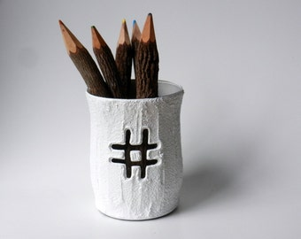 hashtag / # /  pencil cup / hash symbol / sweet office gift / desk accessory / office decor / twitter tag / trending tag