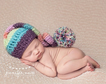 Elf Hat in Dusty Purple, Aqua, Pastel Green, Peach, and Pinky