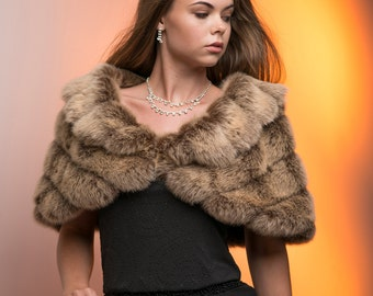 Frosted light Brown Faux fur shrug Winter wedding grooved faux fur wrap with collar