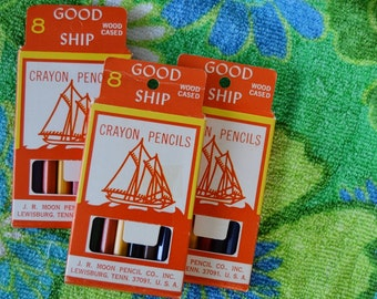 "Vintage 1960s Pack of 8 Unused ""Good Ship"" Colored Pencils"