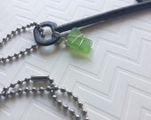 Large Vintage Skeleton Key with Wire Wrapped