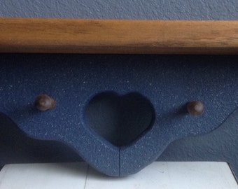Country blue wooden shelf with heart