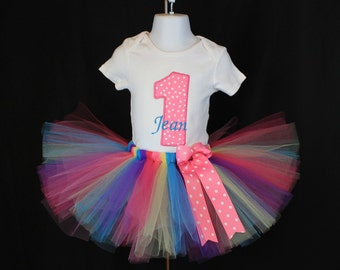 My 1st birthday onesie or T-shirt personalized name with tutu size 12-18 months onesie or 12 month 18 month t-shirt