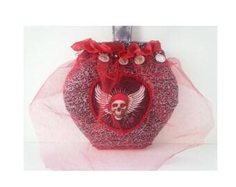 Wedding Money Purse bridal dollar dance bag Skeleton skull black grey red coins Halloween wedding beaded sparkly, caroljoyfashions9 RTS