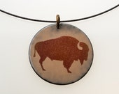 Buffalo Necklace. Brown Buffalo Enamel Necklace. Sepia Buffalo on Brown Enameled Circle Pendant on Steel Neck Wire. Vitreous Enamel Jewelry