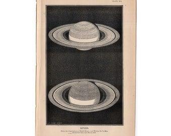 1872 SATURN PLANET print original antique celestial astronomy lithograph