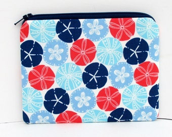 Small Zippered Pouch, Coin Purse, Sand  Dollar Stripes