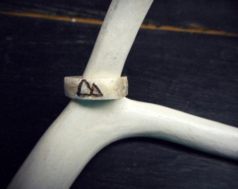 MOUNTAIN PASS. Double Mountain Scene. Genuine Deer Antler Ring. Handmade Carved Bone. Rustic Wedding Ring. Nature Lover Ring. Made to Order