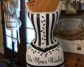 Vintage Inspired Dress Form Mannequin Black & White Custom For Karin