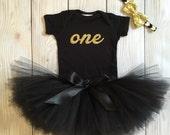 Black and Gold Birthday Dress Tutu Outfit for Baby Girls, Toddler Girls, 1st Birthday Dress, Cake Smash Tutus, Cakesmash