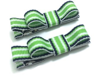 Green & Navy Blue Tuxedo Hair Bows