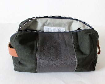 Dopp bag Toiletry case repurposed Pendleton wool fabric with grey and brown leather