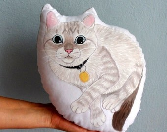 Cat Pillow, cat painting  throw pillow, decorative plush pillow
