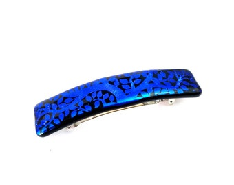 Hair Barrette, French Clip for Women, Cobalt Blue and Black Dichroic Glass, Tree Branch and Leaves