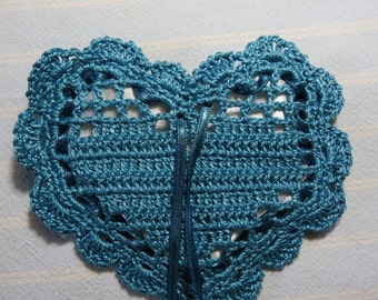 "Light Wedgewood 4""X4"" Sachet-'Antique Oakwood' Fragrance-Blue Heart Sachet-Hand Crocheted Sachet-Cotton and Satin-Cindy's Loft-518"