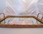 Vintage 1970 Pepsi Cola Mirrored Wicker Tray GREAT CONDITION