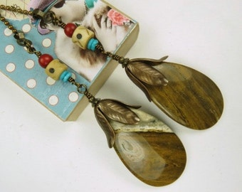 Fan Chain Pair for Ceiling Fan or Lamp with Ocean Jasper and Antiqued Brass Color Findings