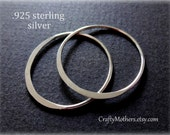 Bulk Buy! SET OF 10 Bali Sterling Silver Hammered Circle Links, 25mm (1 inch) diameter, 1 pair, Artisan-made supplies, precious metals