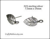 Take 15% off with 15OFF20, ONE PAIR Bali Sterling Silver Leaf Earring Posts, 2 pcs, 14mm x 7.5mm, Artisan jewelry supplies, earrings, ornate