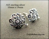 1 PAIR Bali Sterling Silver Fancy Earring Posts, 10mm x 14mm, 2 pcs, Art Nouveau, Artisan-made