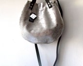 Silver Leather basket hand bag ,Cross-body Bag, Every day leather bag