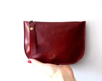 Red leather zipper purse, Makeup Bag , leather wallet ,leather purse