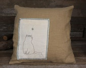 hand-embroidered linen down patch pillow: cat and butterfly by kata golda