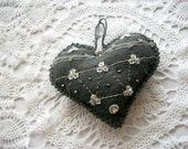 Felt Ornament Grey Heart Wall Hanging or Pincushion  White Flower Sequins Beads and a Rose Montee Handsewn