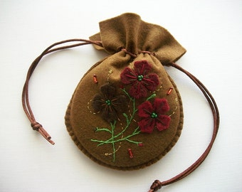 Gift Bag Brown Felt Pouch with Hand Embroidered Felt Flowers Handsewn