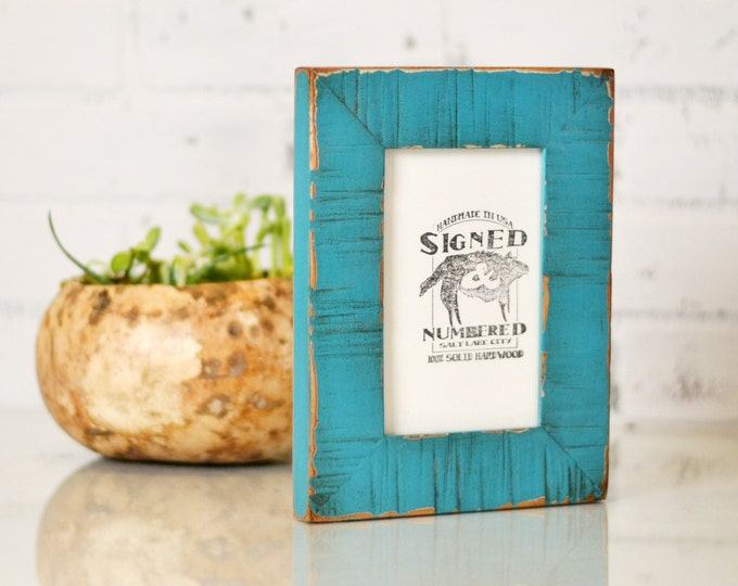 "4x6"" Picture Frame in 1.5 inch Escalante Style with Vintage Turquoise Finish - Can Be Any Color - 4 x 6 Photo Frame Turquoise"