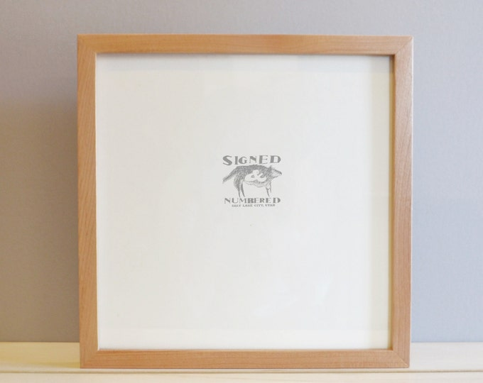 12x12 inch Square Picture Frame in Deep Flat Style with Solid Natural Alder Finish - 12x12 Photo Frame - Handmade Alder Wood Frame