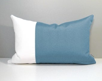 Mineral Blue Outdoor Pillow Cover, Decorative Throw Pillow Case, Modern Duck Egg Blue & White Color Block Sunbrella Cushion Cover, Mazizmuse