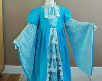 Renaissance Childs Fairy Tale Frozen Dress Tudor Medieval Costume Gown Size 5-6 Girls